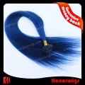 HX11-16#BLSTV 16 inches Silk Straight blue color V-tip Human hair Extension